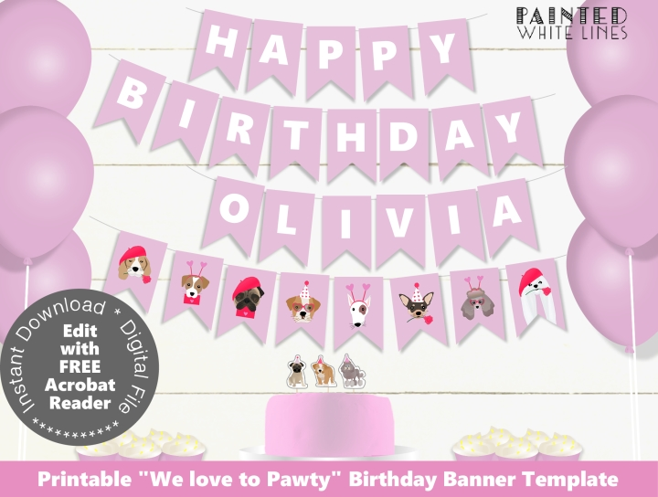 Valentines Birthday Party Banner Template