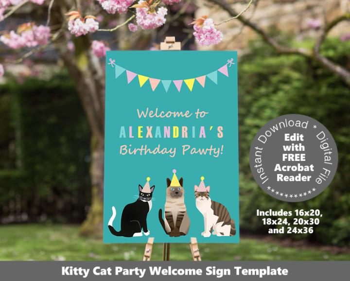 Cat Party Welcome Sign Poster Sizes
