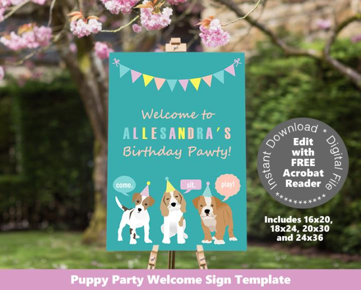 Puppy Dog Party Welcome Sign Poster Sizes