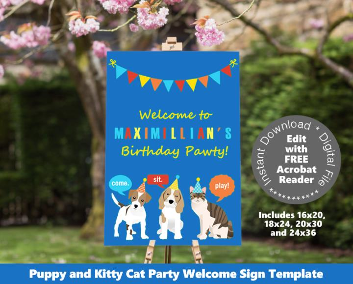 Cat and Dog Welcome Sign Poster Sizes Template