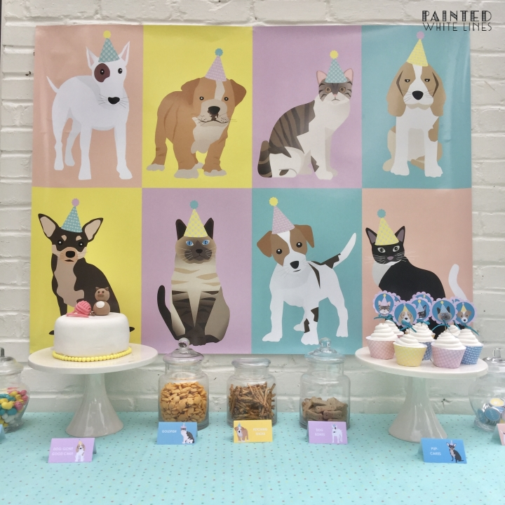 Digital Pet Party Theme Cake Table Backdrop