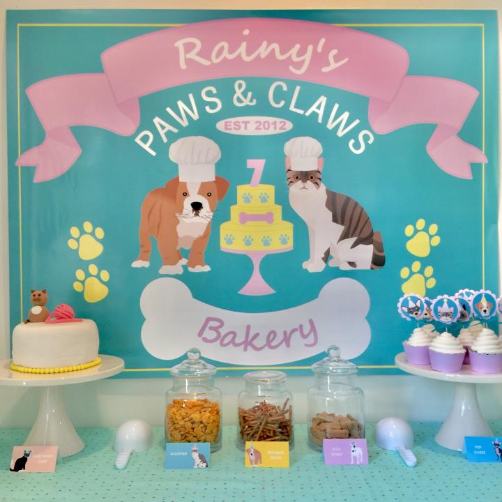 Puppy Dog and Kitty Cat Party Backdrop